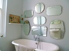 How to hang frameless mirror display wall