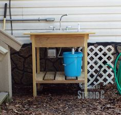 Build an Outdoor Sink and Connect It to the Outdoor Spigot - I have wanted an outdoor sink forever and finally got around to building one! I used pressure treat…