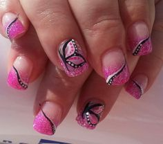 Pink glitter acrylic. Pretty pink butterfly.