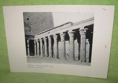 Peristyle Temple of Horus with Egyptian hieroglyphs, Edfu, Egypt 237-57 B.C. #Vintage