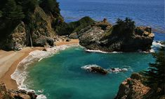 McWay Falls is a Waterfall in Monterey. Plan your road trip to McWay Falls in CA with Roadtrippers. Big Sur California, California Coast, California Travel, Carmel California, Monterey California, Monterey County, Northern California, Pacific Coast Highway, Highway Road