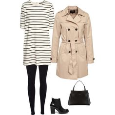 Trench➕Rayas ➡ un look clásico, básico y atemporal.  A fashion look from February 2015 featuring H&M dresses, VILA coats and Scoop leggings. Browse and shop related looks.
