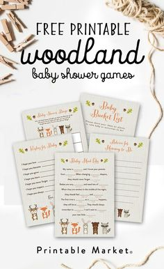 Free Woodland Fox Baby Shower Games Printable Package – Printable Market