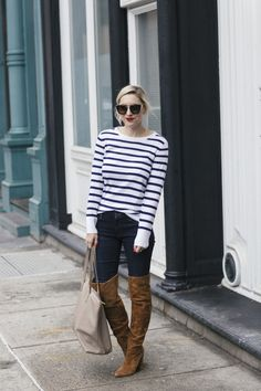 Banana Republic Sweater with Mother jeans and over the knee suede camel boots and a cuyana bag7