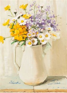 Lucie van Dam van Isselt - Bouquet of spring flowers, oil on panel, x cm Yellow Flowers, Spring Flowers, Acrylic Painting Flowers, Flower Paintings, Paintings For Sale, Oil Paintings, Flower Art, Still Life, Glass Vase
