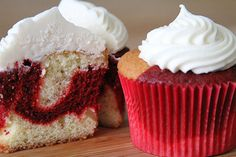 Red Velvet Vanilla Marbled Cupcakes / Using alternating spoonfuls of red velvet and vanilla batter, fill your cupcake lines 2/3 full & bake.Top with cream cheese icing .