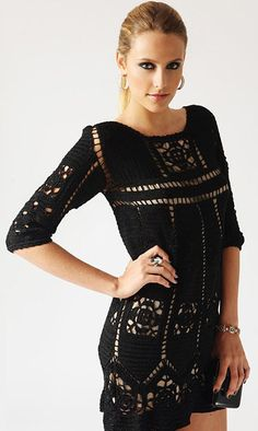 Fabulous Crochet a Little Black Crochet Dress Ideas. Georgeous Crochet a Little Black Crochet Dress Ideas. Beau Crochet, Mode Crochet, Knit Crochet, Black Crochet Dress, Knit Dress, Crochet Designs, Crochet Patterns, Vestidos Fashion, Crochet Symbols