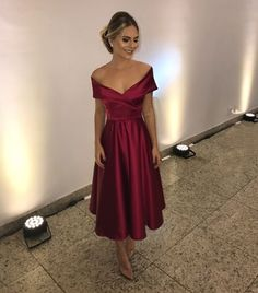 Burgundy Off The Shoulder Party Dress Tea Length Homecoming Dress Bridesmaid Dress Fashion Vestidos, Fashion Dresses, Tea Length Dresses, Formal Dresses, Dresses Dresses, Homecoming Dresses, Bridesmaid Dresses, Prom Outfits, Dress Outfits