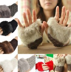 Fashion Women Ladies Fingerless Rabbit Fur Wrist Knitted Wool Mitten Warm Gloves #New #Fashion