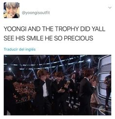 Namjoon gave it to me after he held it. Cause we all know he loves awards/prizes
