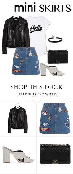"""mini skirt"" by paluna ❤ liked on Polyvore featuring Yves Saint Laurent, Marc Jacobs, Rebecca Minkoff, Chanel and MINISKIRT"