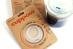 Cuppow, a new lid that turns a re-purposed canning jar into functional coffee cup or travel margarita mug.