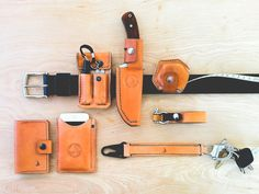 My Everyday Carry - Leathersmith in Ashland, OR This comes in handy when you love EDC. The light, Micra, knife, and micromeasure stay Leather Holster, Leather Pouch, Edc Belt, Edc Everyday Carry, Leather Projects, Leather Accessories, Canvas Leather, Leather Working, Leather Craft