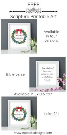 """Free printable art scripture quotes from Luke 2.11 """"Today in the town of David a Savior has been born to you; he is the Messiah, the Lord."""" available to download. More freebies at www.trueblissdesigns.com #wallart #printable #freeprintable #bibleverse #luke #bibleart via @TrueBlissUK"""