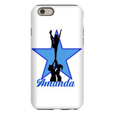Blue Cheerleader Personalized iPhone 6 Tough Case Shatter-proof, scratch-resistant hardshell with a cushioned rubber insert to provide superior protection for your phone  #iphone6 #iphone #case #cases #cheer #cheerleader #cheerleading #varsity #allstars #giftsforgirls #giftsforteens