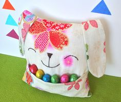 Easter Bunny Pillow Softie with Pouch  by YellowTreeStore on Etsy,
