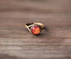 Orange Rose ring  Flower jewelry  Adjustable ring  by BeautySpot