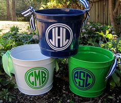 Monogram Easter bucket- so cute! I want to make these for my cousins!