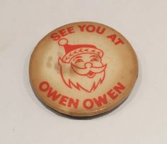 Vintage-See-You-at-Owen-Owen-Badge-Christmas-Santa-Liverpool-Department-Store