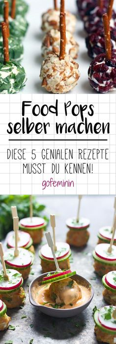 Herzhaft und wahnsinnig gut mischen die kle… After cake pops now come food pops. Hearty and insanely good, the little bites mix up the finger food scene. We show you the most delicious Food Pops recipes! Party Finger Foods, Snacks Für Party, Brunch Mesa, Tapas, Appetizer Recipes, Snack Recipes, Party Recipes, Cake Recipes, Party Buffet