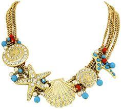 Amazon.com: Layered Gold Tone Turquoise & Coral Beads Rhinestone Starfish Sea Shell Fashion Jewelry Statement Bib Necklace: Jewelry