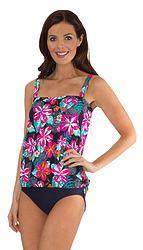 41eedaed763a5 Mazu Swim Fiji Floral Bandeau Blouson Top Women's Plus Size Swimwear, Fiji,  Swim Bottoms