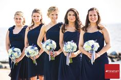 Nautical Bridesmaids, navy dresses, white and blue bouquets tied in navy and white striped cotton ribbon, Silver Swan Bayside, boat, ocean, wedding theme