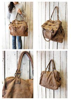 "Handmade Italian Light Brown Leather Messenger Bag ""ZIPPER 10"" di LaSellerieLimited su Etsy"