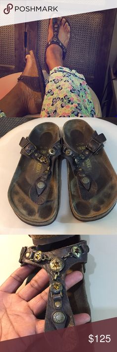 Birkenstock Gizeh Cortina Leather chain sandals 38 Birkenstock Gizeh Birko-Flor Golden Brown thong sandal size 38 7-7.5.  These are from my personal collection. Birkenstock Shoes Sandals