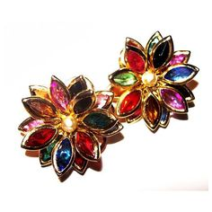 Festive Cluster Clip On Earrings Colored Rhinestones 3 Tiers Gold... ($13) ❤ liked on Polyvore featuring jewelry and earrings