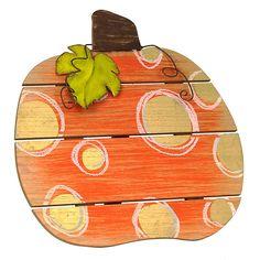 Gold Polka Dot Wood Slat Pumpkin | Kirklands