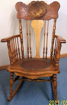 *VERY NICE OAK PRESSED BACK ROCKING CHAIR W/ ROUND LEATHER INSERTS. I Love  Vintage Pieces...and Wish There Were More Information On These Pieces To  Obtain.