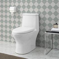 Swiss Madison Ivy GPF Dual Flush Elongated Toilet in White Clean Design, Bidet Seat, Wall Mounted Toilet, Small Bathroom, Wall Hung Toilet, One Piece Toilets, Toilet, Wood Bridge, Bathroom Decor