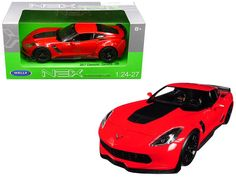 Brand new scale diecast car model of 2017 Chevrolet Corvette Red die cast model car by Welly. Brand new box. Has steerable Marvel Store, Rubber Tires, Diecast Model Cars, Chevrolet Corvette, Doors, Note, Engine, Red, Wheels