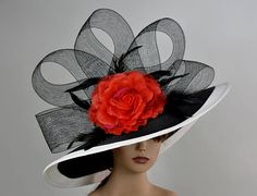 One size hat.(21.5-22.5) Brim is approx. 6 If the bow loses its form and in case there is a slight deformation during shipping, please know that it is very easy fix. Just hold it under a hair dryer for a few seconds and adjust it. I have designed & created each piece in my shop
