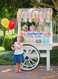 a circus soirée! Candy buffet cart.