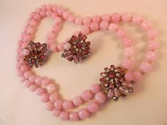 Signed MIRIAM HASKELL, Double Strand, Cast Pink Glass, NECKLACE & EARRING SET #MiriamHaskell