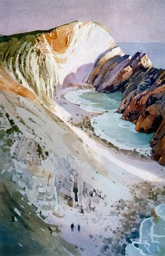Ronald Jesty - Stair Hole 4 Paintings I Love, Seascape Paintings, Landscape Paintings, Watercolor Paintings, Watercolours, Landscapes, Watercolor Landscape, Abstract Watercolor, Abstract Landscape