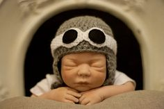 Aviator Hat and Goggles baby, toddler and child grey and black. £9.00, via Etsy.