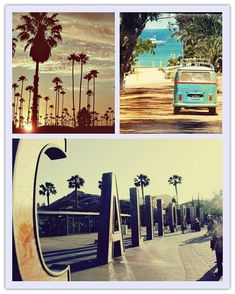California beach, that bottom shot is the entrance to California Adventure in Disneyland.