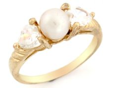 10k Solid Yellow Gold 2 Heart CZ & Freshwater Cultured Pearl Every Day Ring Jewelry (Style#2852), Women's, Size: 10, White