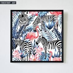 Abstract Art Wall Decoration Wildlife Poster Flamingo Picture Tropical Print Canvas Zebra Art Lotus Home Decor for Livingroom