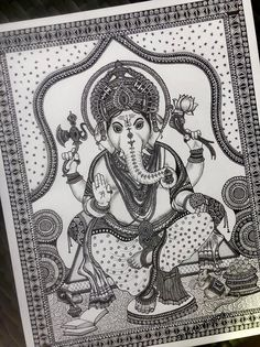 This is a fine art print of the original drawing done by me. The original drawing of this print was done using pens and acrylic paints. Made of intricate patterns and designs was mainly inspired by Kalamkari art style. <> This print of Lord Ganesha is Ganesha Drawing, Ganesha Painting, Ganesha Art, Ganesha Sketch, Krishna Art, Lord Ganesha, Doodle Art Drawing, Mandala Drawing, Mandala Sketch