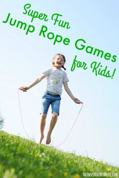 The Inspired Treehouse - Jumping rope is fun for kids and is a great way to develop coordination and cardiovascular health. Here are some of our favorite jump rope games! Jump Rope Songs, Jump Rope Games, Kids Jump Rope, Jump Rope Workout, Pe Activities, Movement Activities, Summer Activities, Physical Activities, Relay Games For Kids