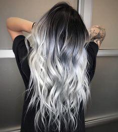 ❄️ ICY HAIR ❄️ for this snowy day - Saç rengi fikirleri - Haarfarben Hair Dye Colors, Ombre Hair Color, Cool Hair Color, Silver Ombre Hair, Black And Silver Hair, Hair Color Ideas, Dyed Hair Ombre, Black To Grey Ombre Hair, Long Silver Hair
