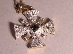 Dazzling Vintage Malteses Cross Style Sapphire by Orchardtreasures, £8.00