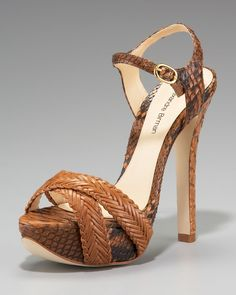 Alexandre Birman Woven Leather Snake Platform Sandal in Brown (pecan(brown)) | Lyst
