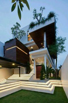 25 most popular modern dream house exterior design ideas 15 Dream Home Design, Modern House Design, Architecture Design, Contemporary Architecture, Modern Architecture Homes, Contemporary Stairs, Modern Stairs, Contemporary Cottage, Stairs Architecture