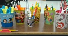 Classroom decor: Students have given me items like these throughout the years for my Peanuts Gang themed classroom.