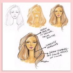 Brooke Hagel - Tuesday Tips: Hair Fashion Illustration Tutorial, Fashion Illustration Sketches, Illustration Mode, Fashion Sketches, Fashion Drawings, Fashion Sketchbook, Portrait Illustration, Hair Reference, One Hair